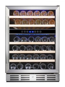 Kalamera 24 Inch Under Counter Built In Wine Refrigerator 46 Bottle Dual Zone Wine Cooler Fridge