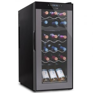 NutriChef PKCWCDS188 18 Bottle and 6 Can Dual Zone Freestanding Wine Refrigerator